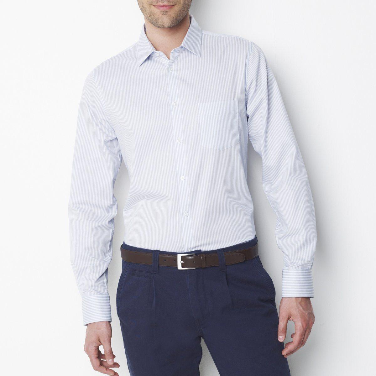 e46c5f5ef0f ... Мужская серо-белая рубашка в полоску с синими брюками ...