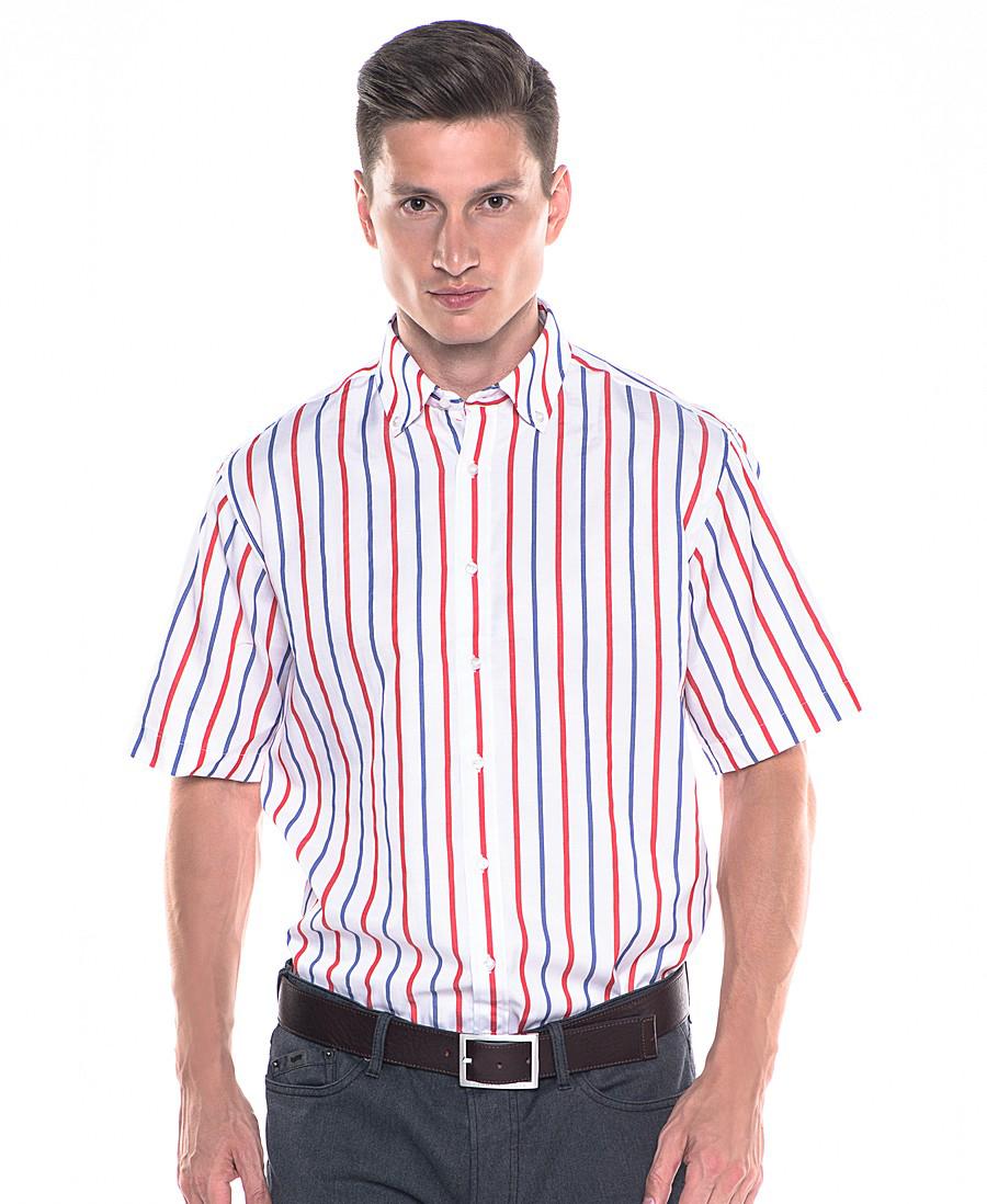 893018764e9 ... Мужская белая рубашка в красно-синюю полоску с серыми брюками ...