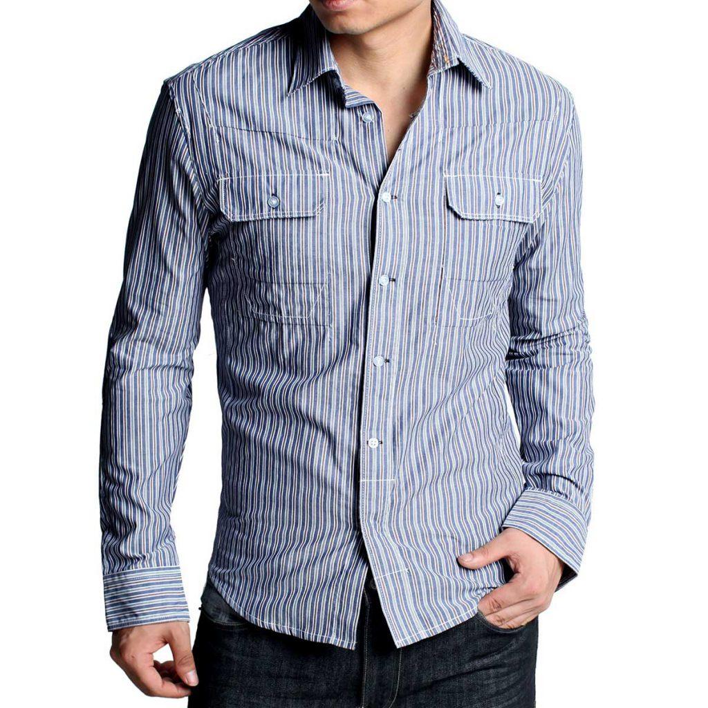 Мужская рубашка в полоску в синих тонах с черными брюками