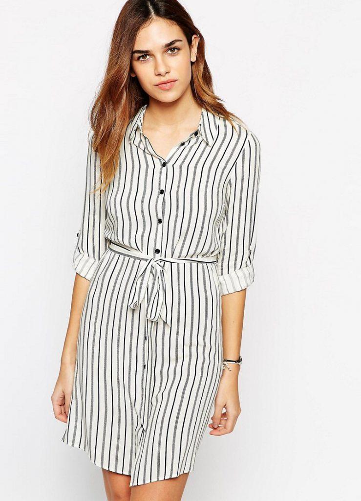 Длинная женская рубашка в полоску