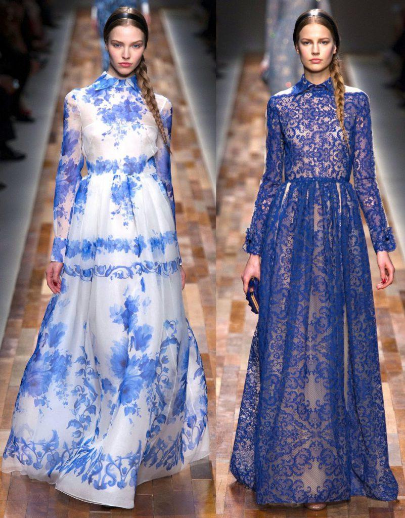 Сине-белые платья в русском стиле