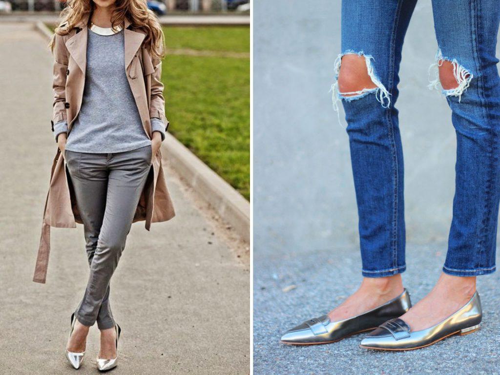 Серебристые туфли на плоской подошве с брюками