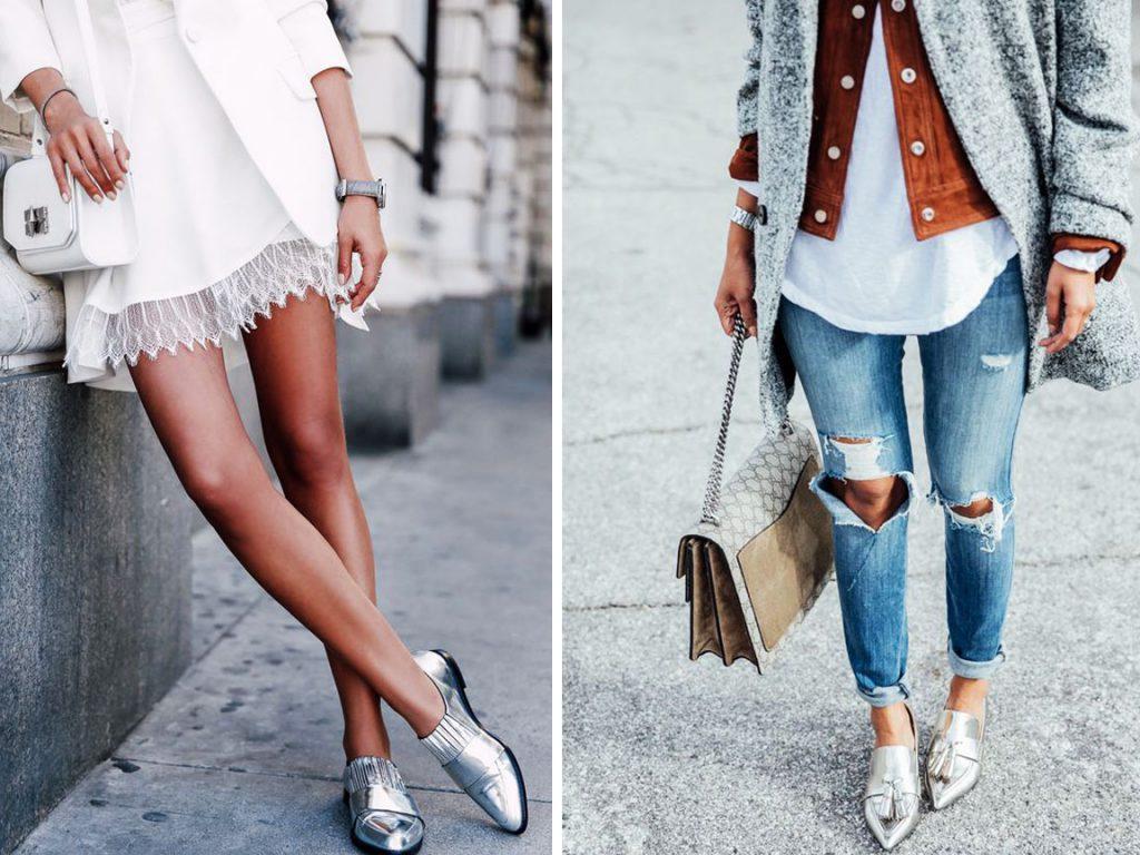 Серебристые туфли на плоской подошве с платьем и джинсами