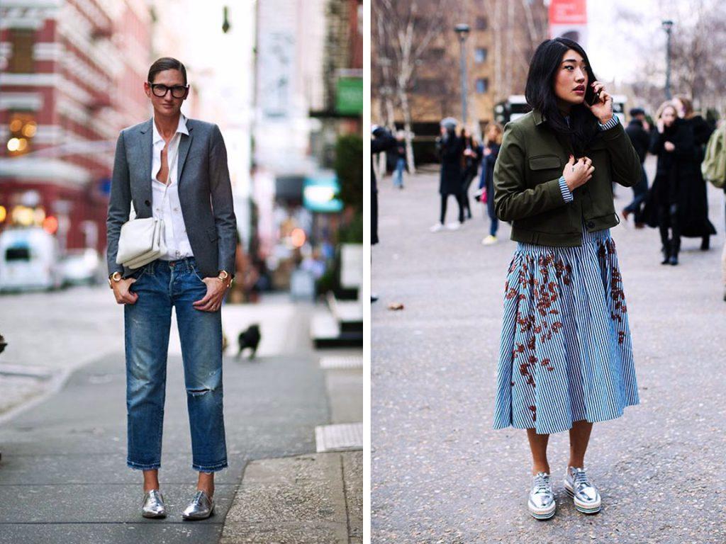 Серебристые туфли на плоской подошве с юбкой и джинсами