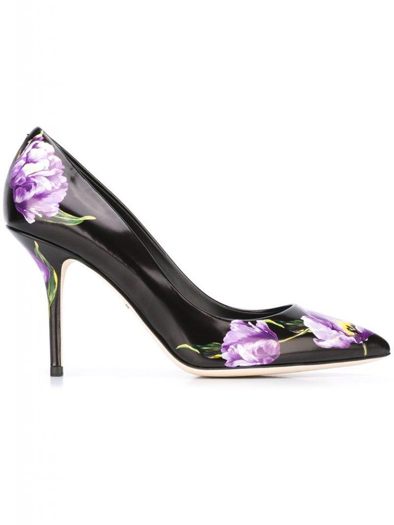 Черные туфли с цветочным принтом