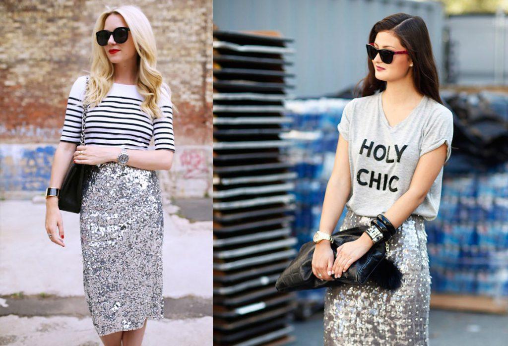 Серебристые юбки с пайетками с футболками