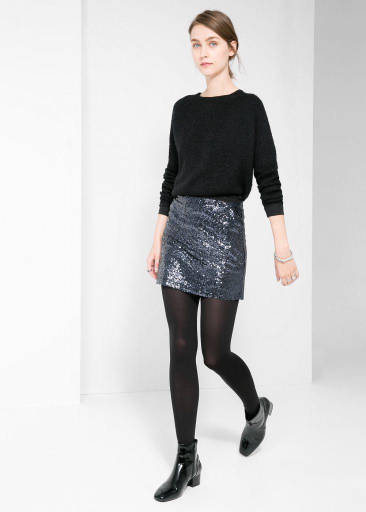 Черная юбка с пайетками с черной кофтой
