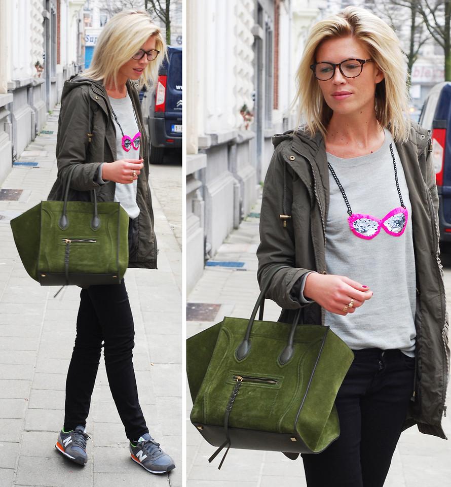 Образ с зеленой замшевой сумкой
