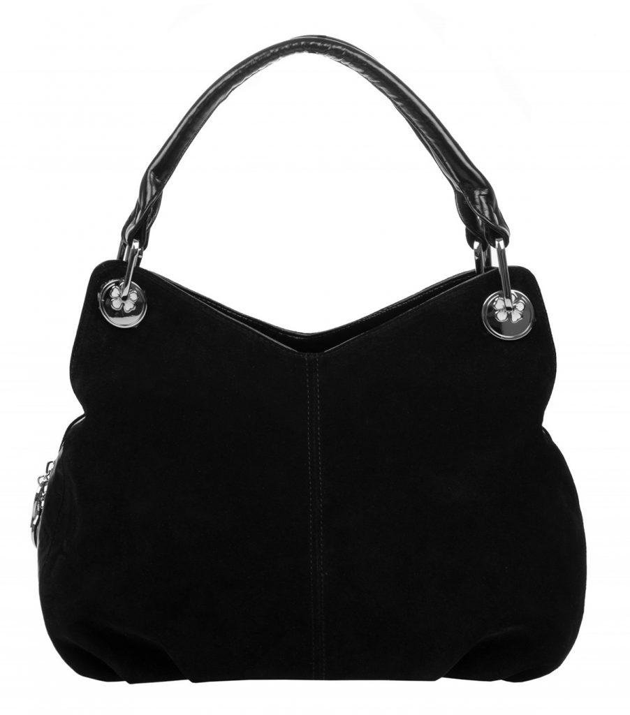 Стильная черная замшевая сумка