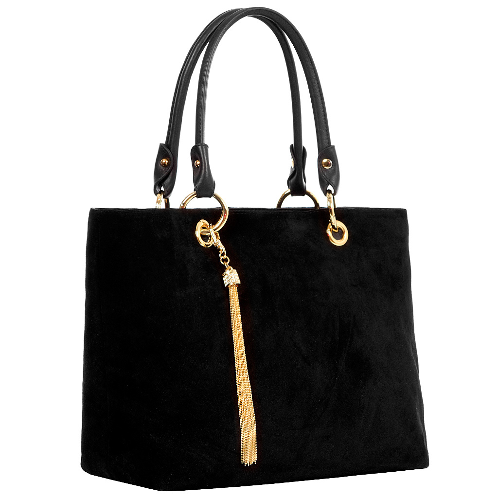 Модная черная замшевая сумка