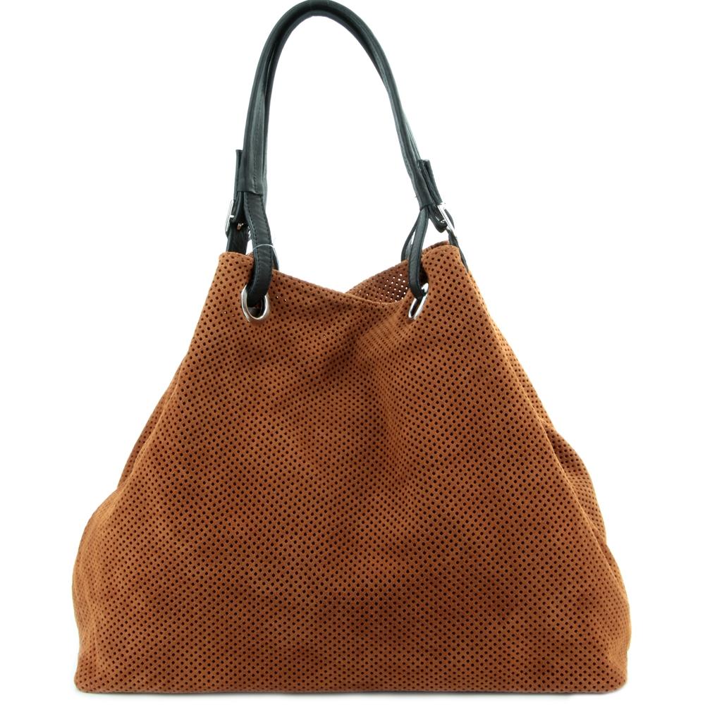 Большая коричневая замшевая сумка