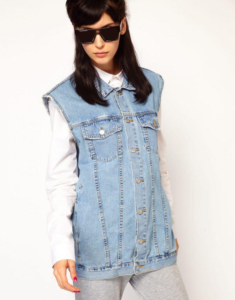 Необычный женский образ с джинсовой жилеткой