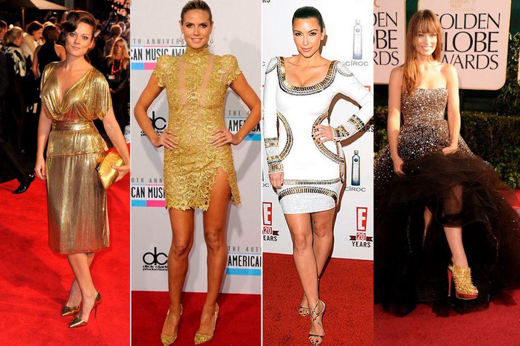 Модные образы с золотыми туфлями