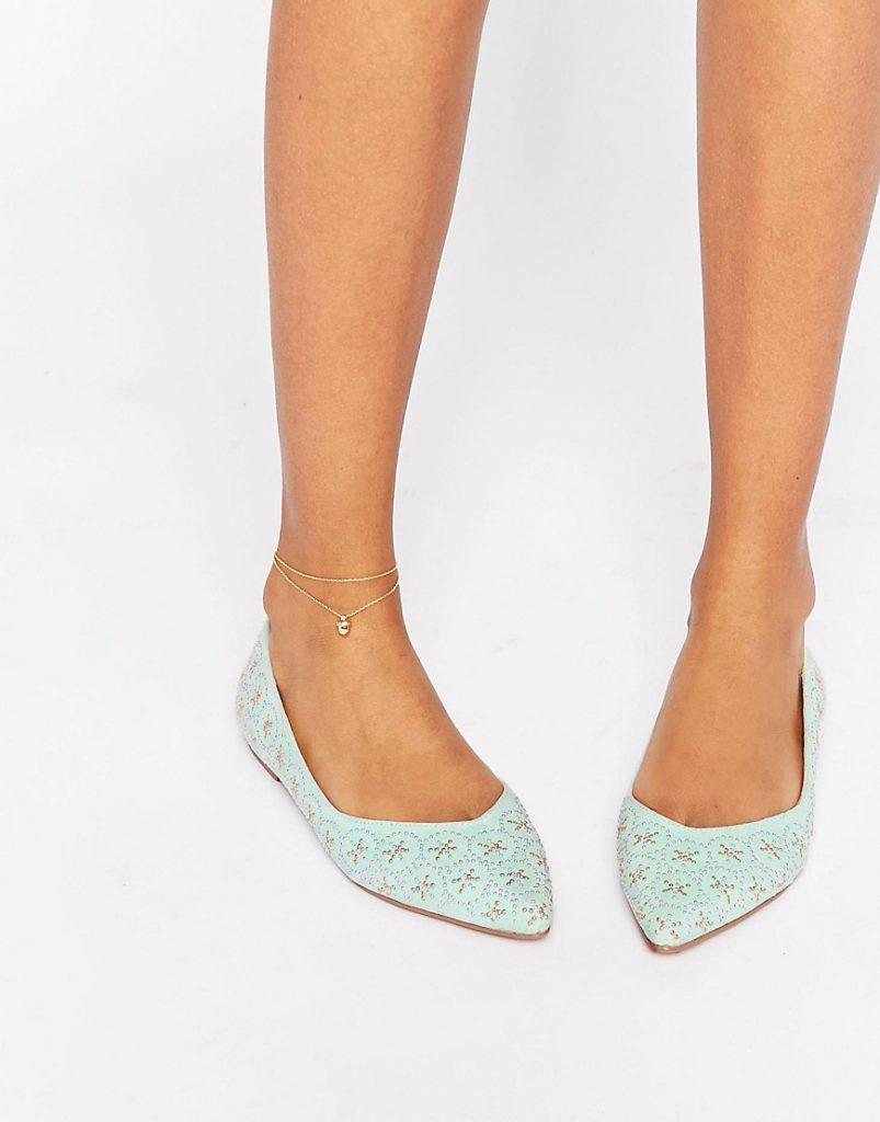 Мятные балетки с острым носком