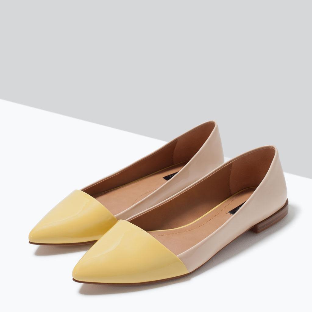 Бежево-желтые балетки с острым носком