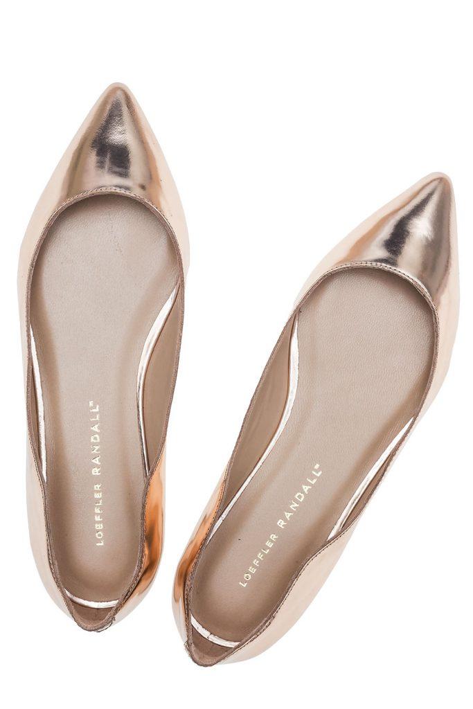 Золотистые балетки с острым носком