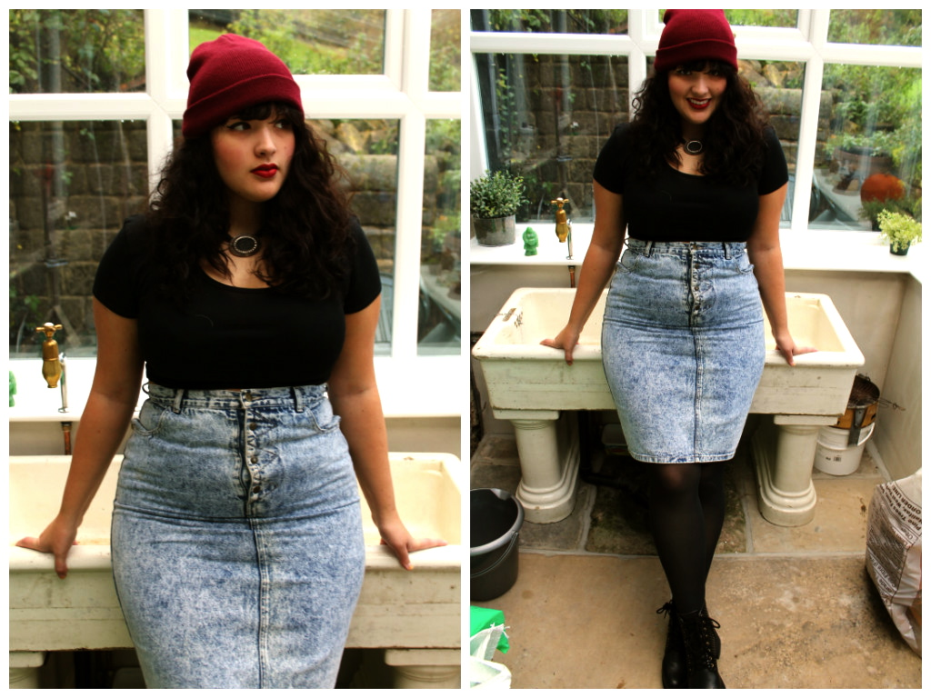 Образ с джинсовой юбкой для полных