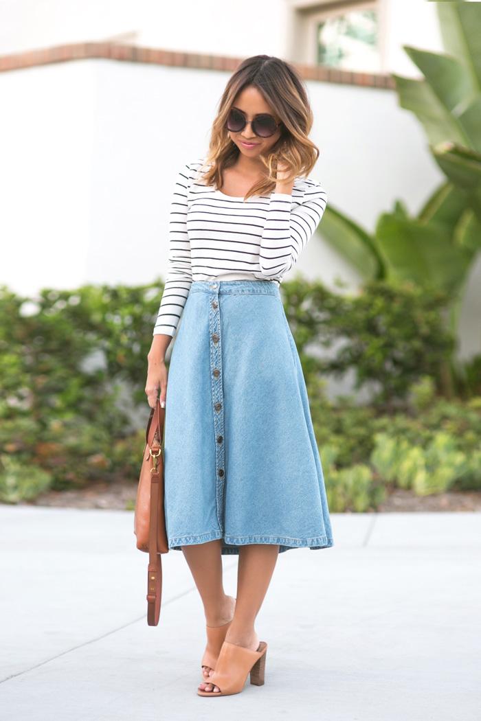 Джинсовая юбка-трапеция
