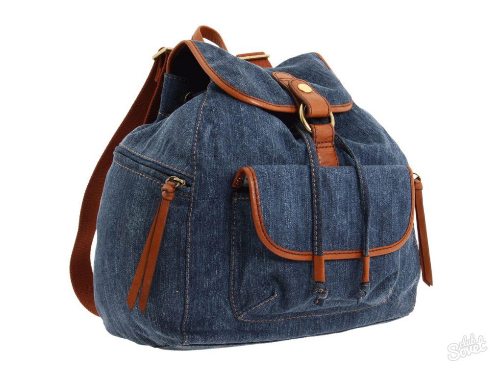 Сине-коричневый джинсовый рюкзак