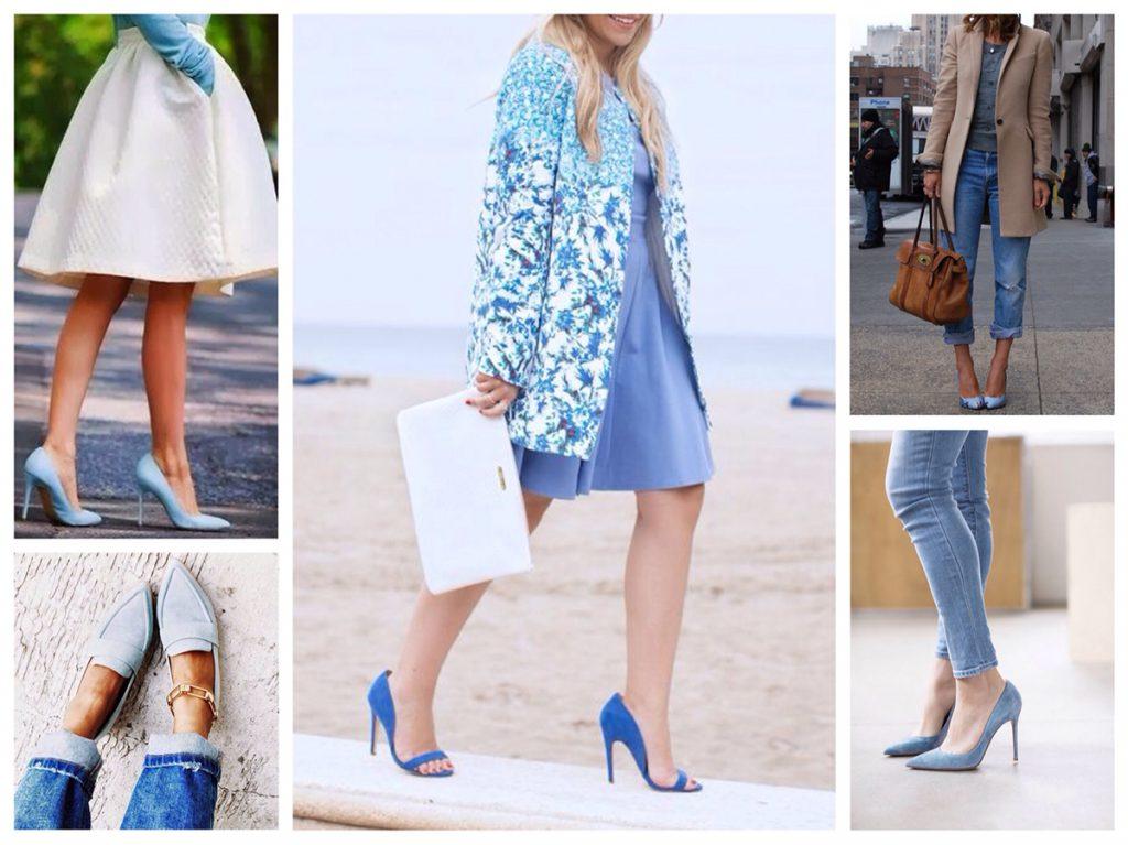 Модные образы с голубыми босоножками