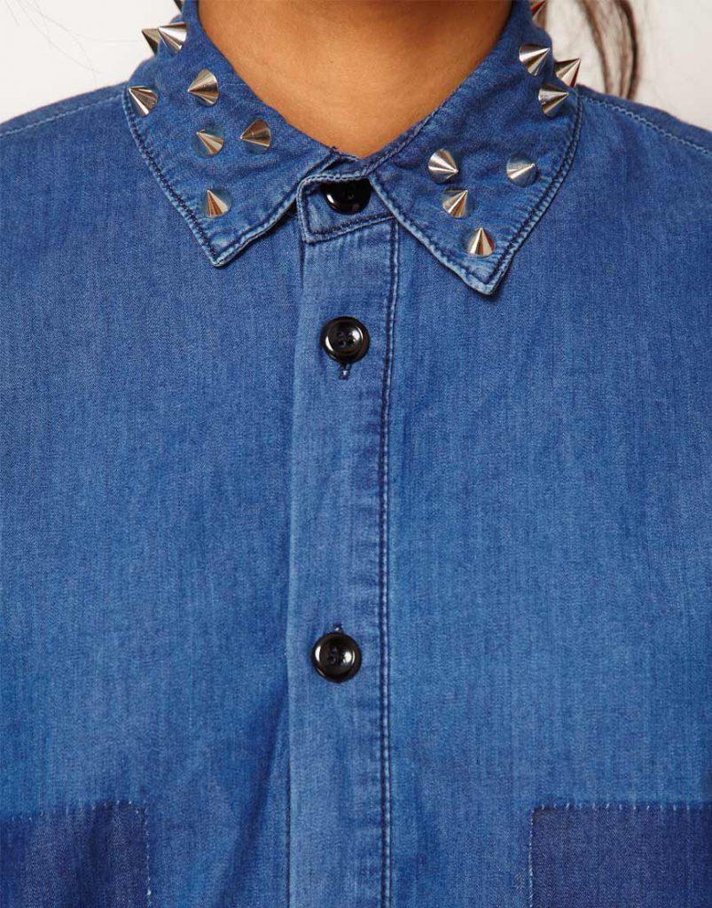 Украшение воротника джинсовой рубашки
