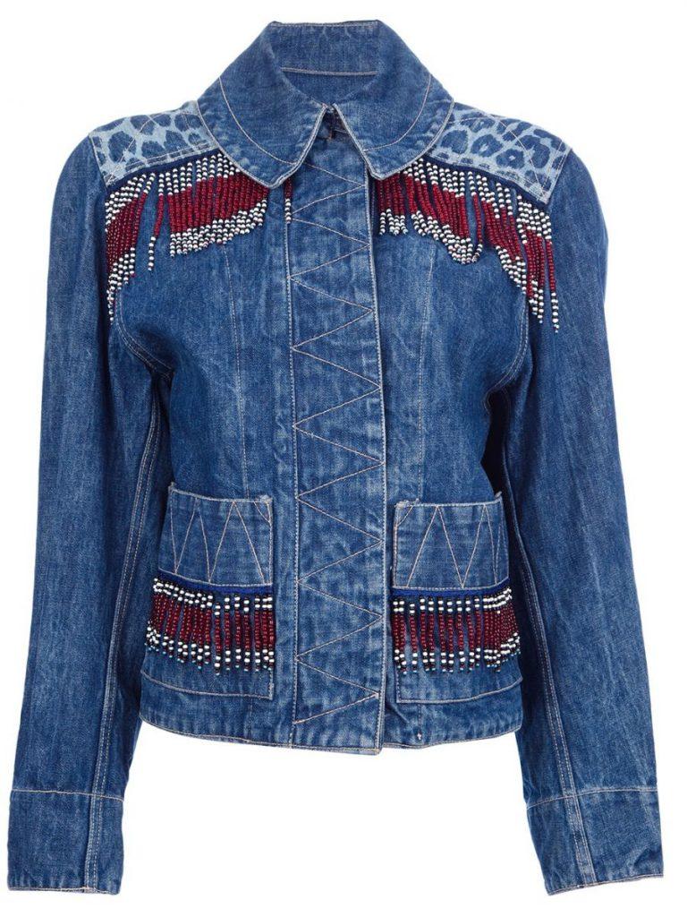 Украшение джинсовой рубашки бисером