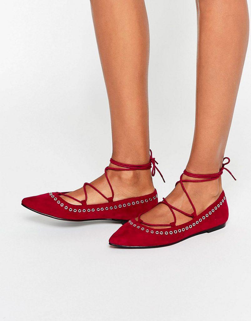 Модные красные балетки