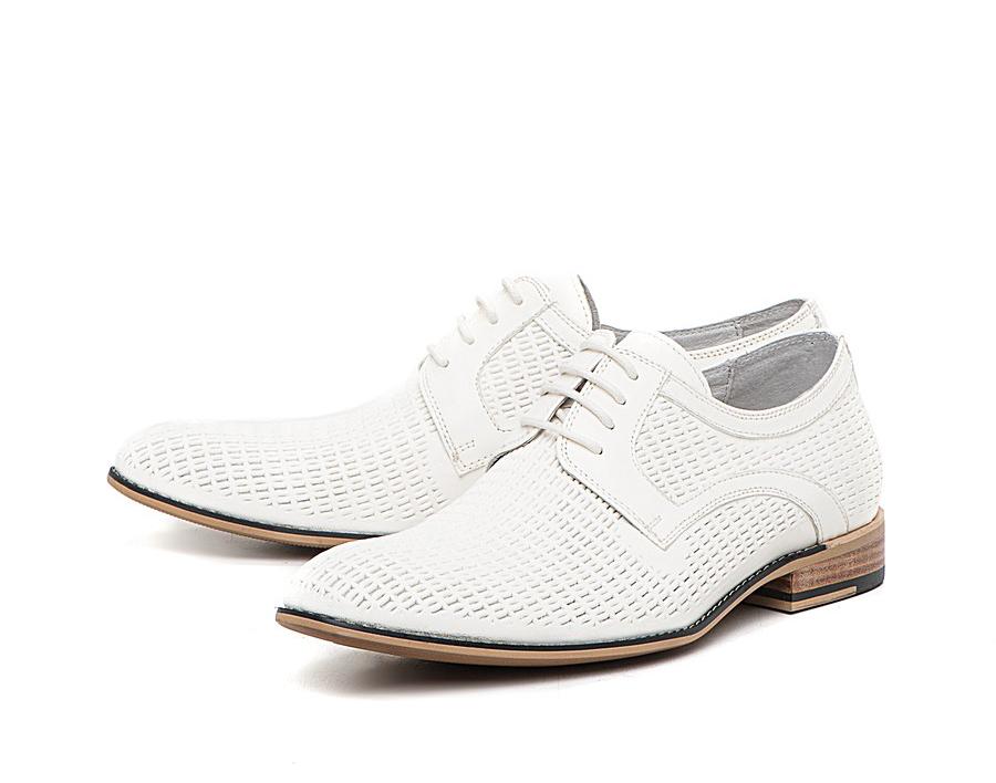 Мужские стильные летние белые туфли