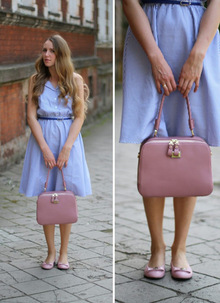 Розовые балетки с голубым платьем