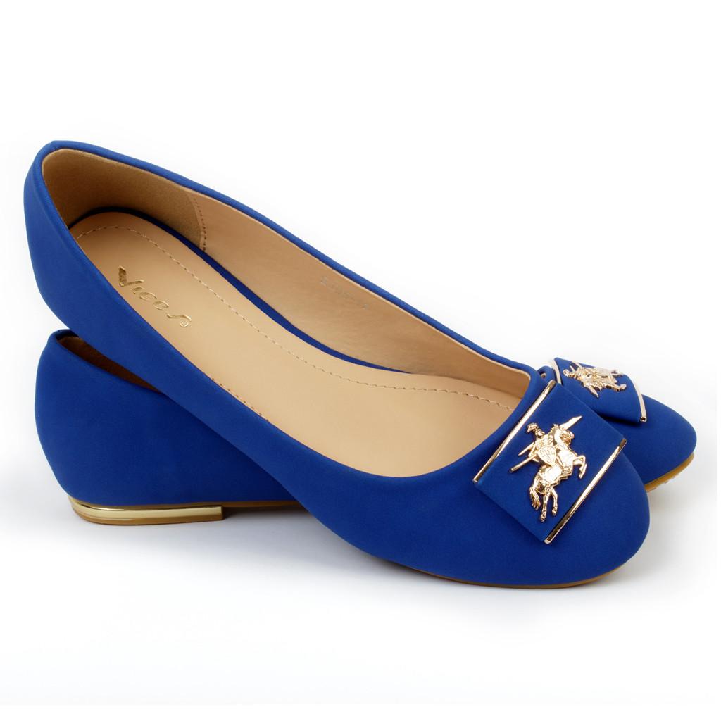 Золотисто-синие балетки