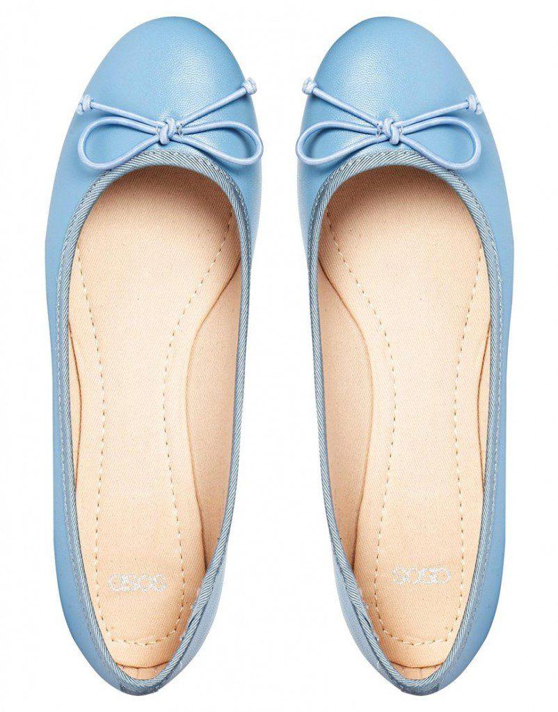 Светло-синие балетки из кожи