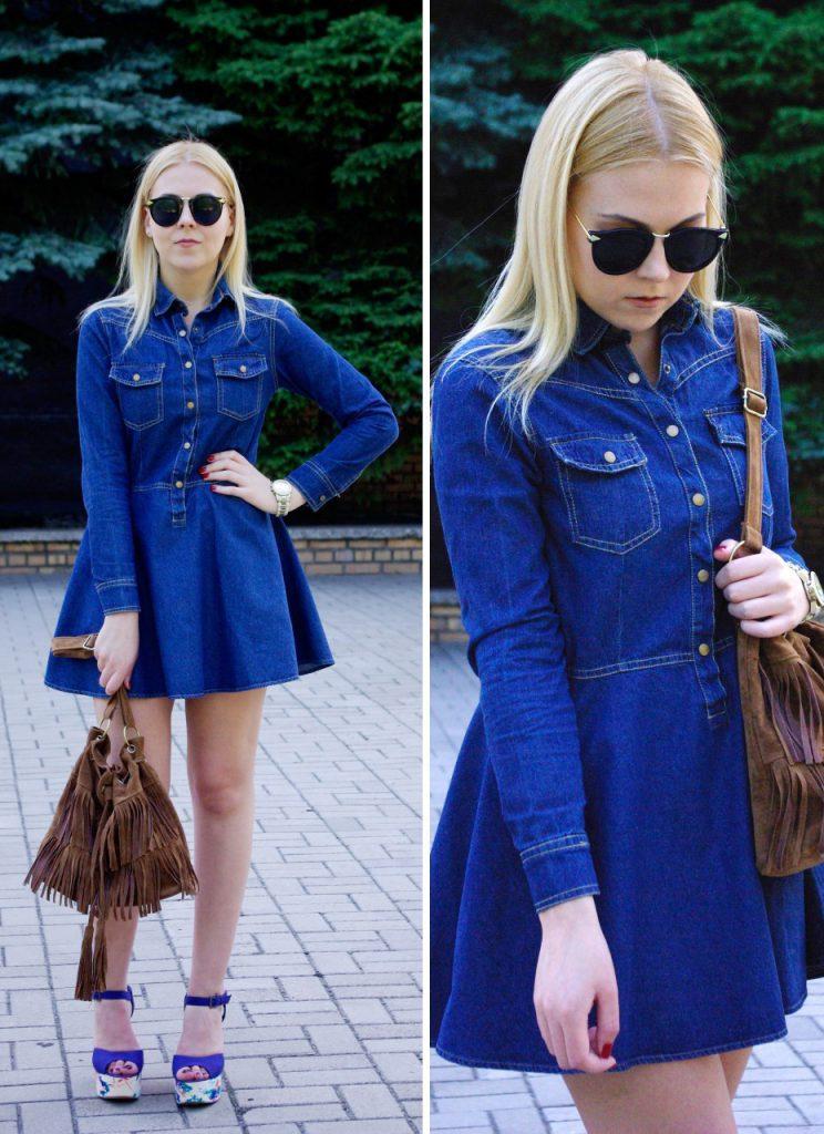 Синие босоножки с джинсовым платьем