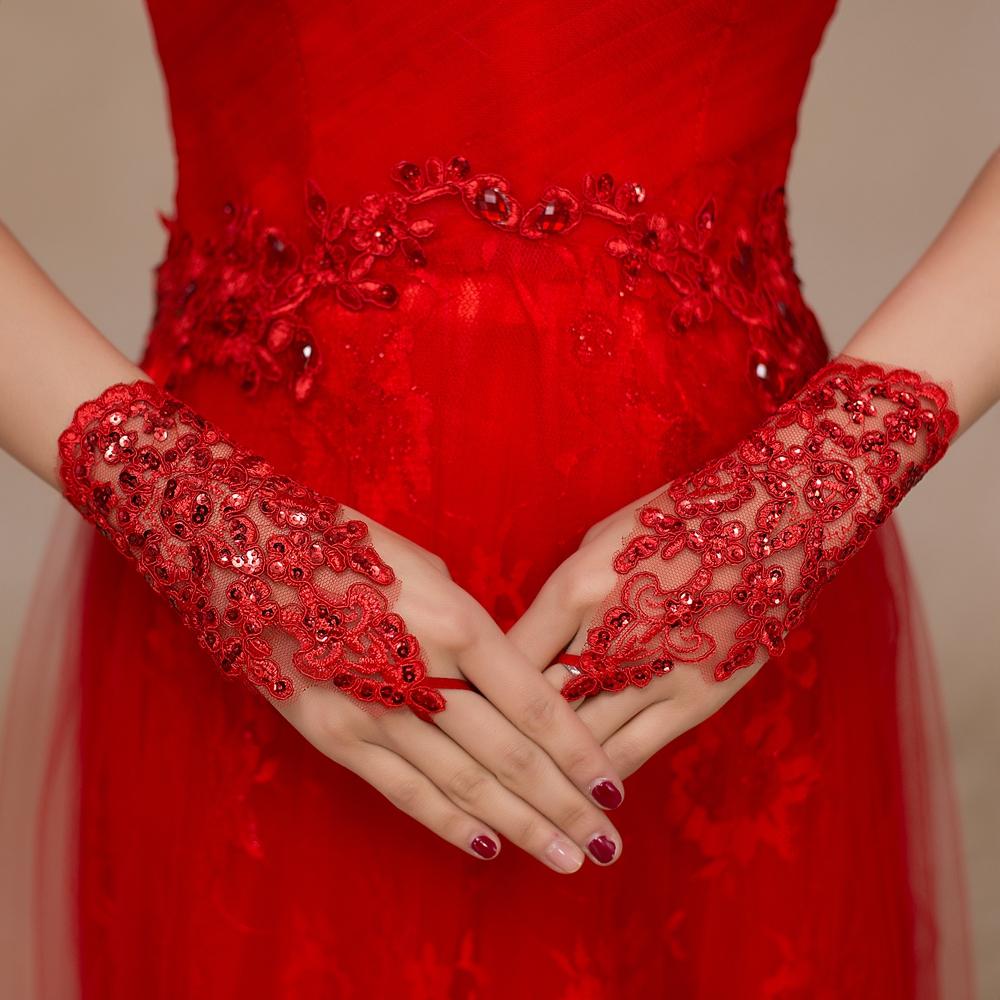 Красные короткие свадебные перчатки без пальцев