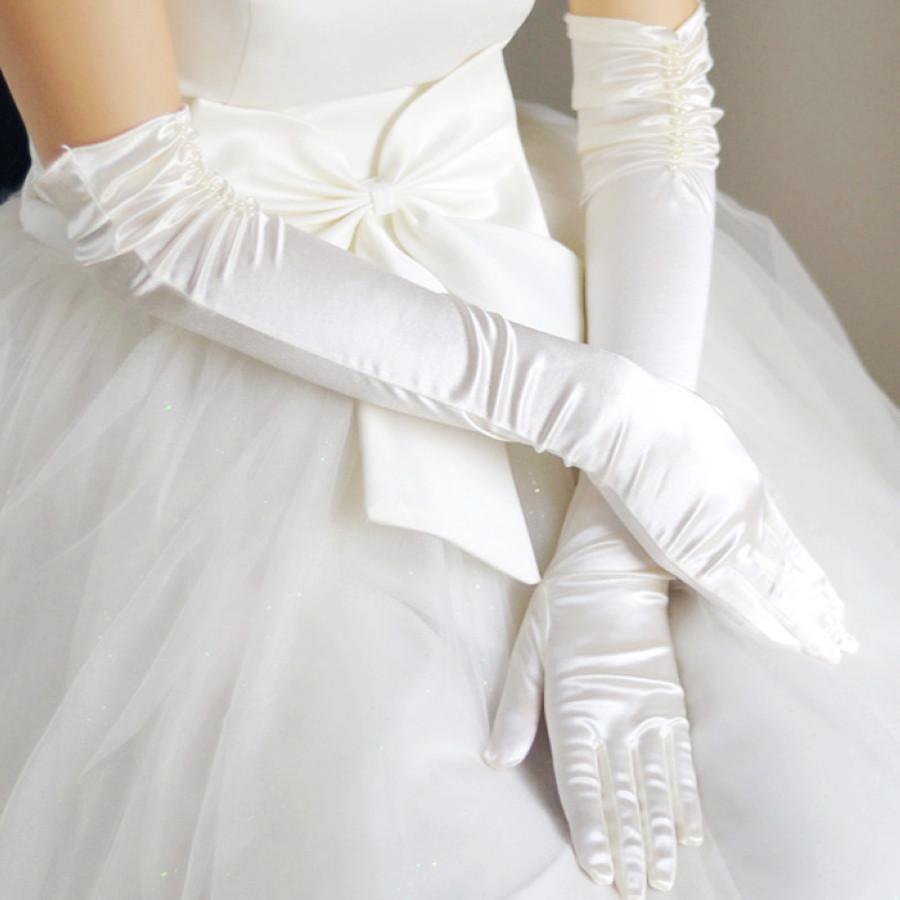 Длинные атласные свадебные перчатки