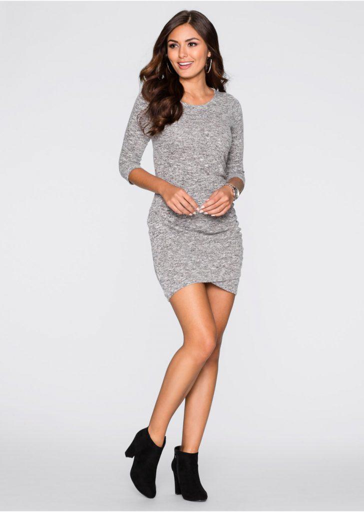 Серое короткое трикотажное платье