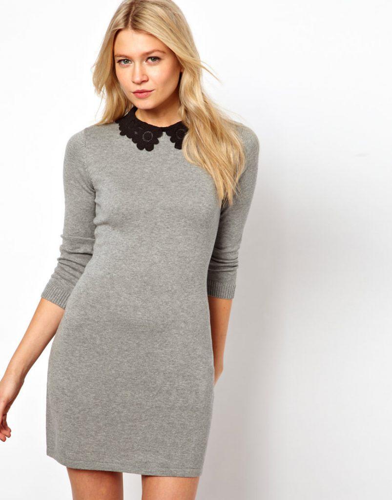 Серое деловое трикотажное платье