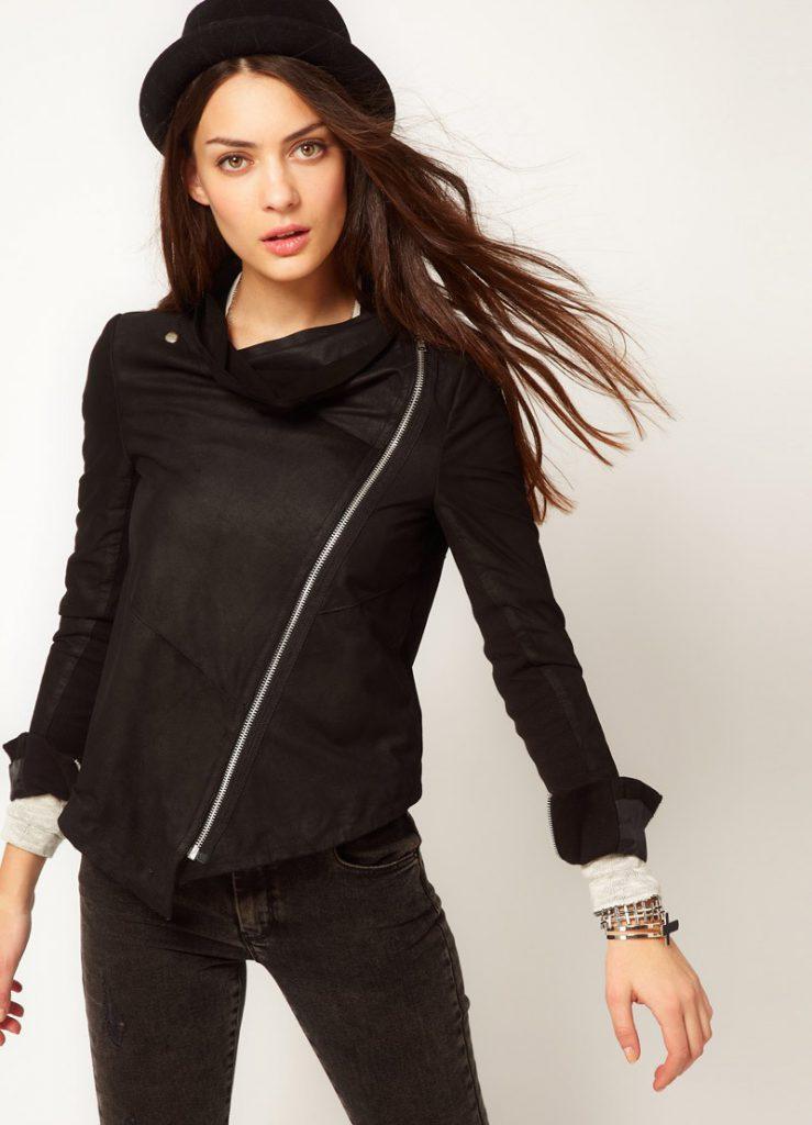 Черная модная замшевая куртка