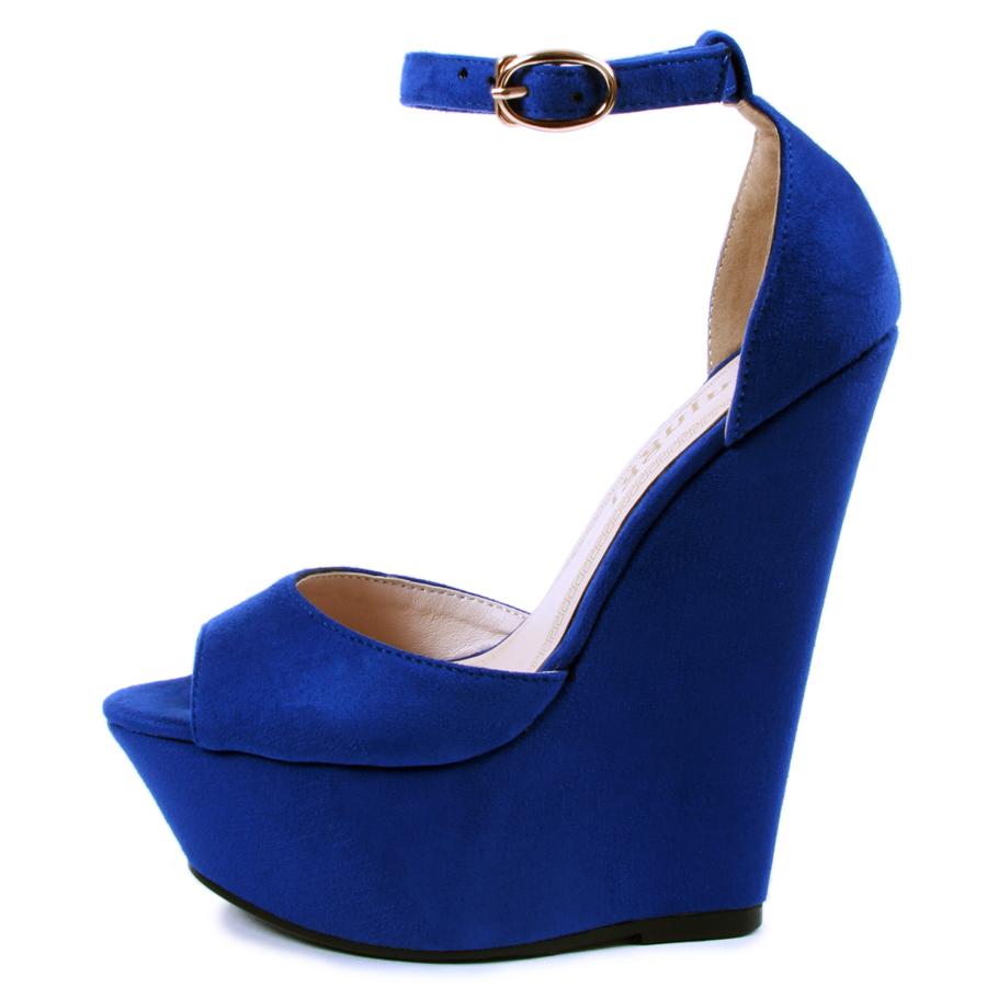 Синие замшевые туфли на платформе