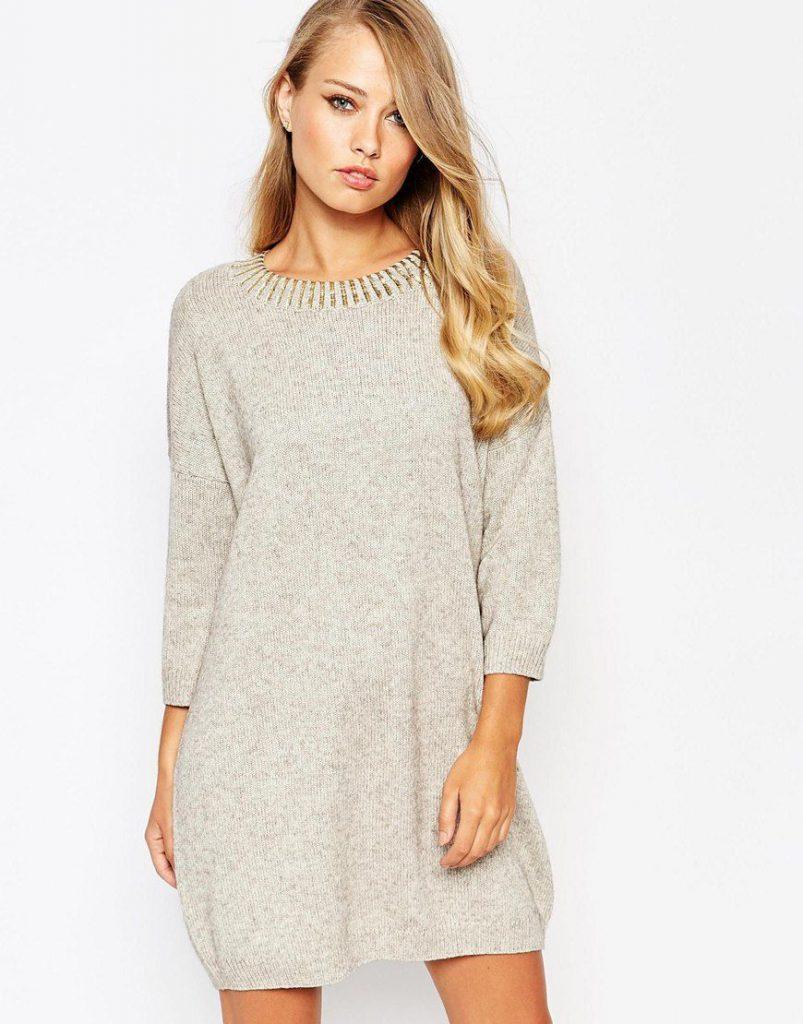 Кремовое зимнее платье
