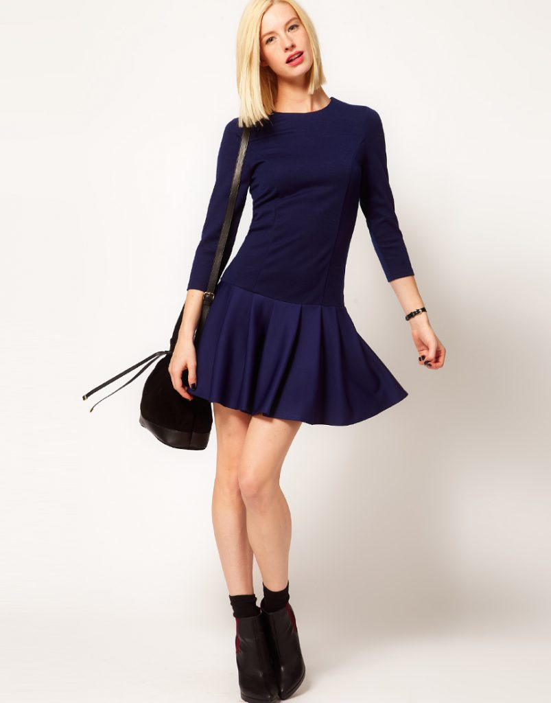 Синее зимнее платье