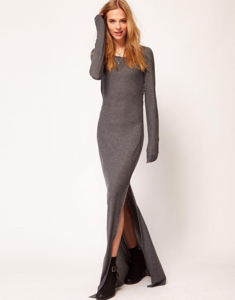Зимнее серое платье в пол с разрезами