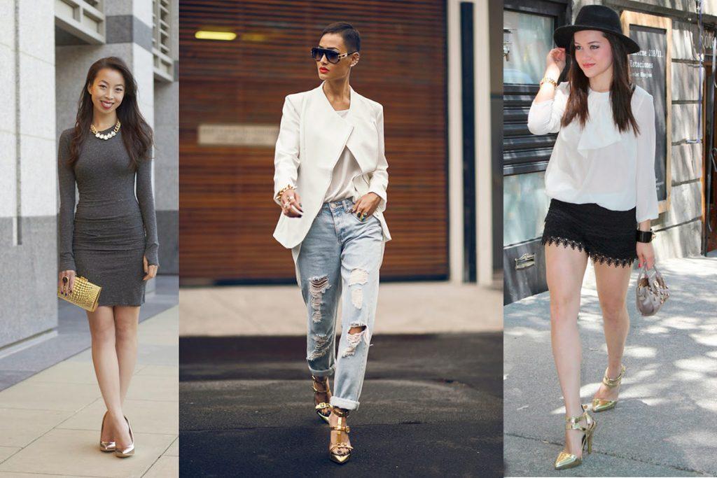 Золотые босоножки с платьем, джинсами и шортами