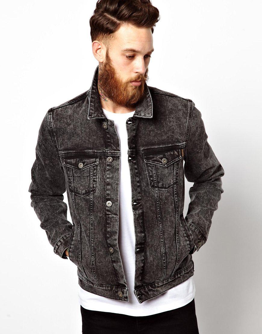 Куртка из черного денима