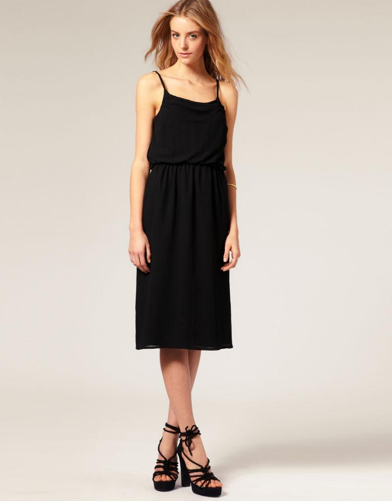 Черные босоножки на толстом каблуке с черным платьем