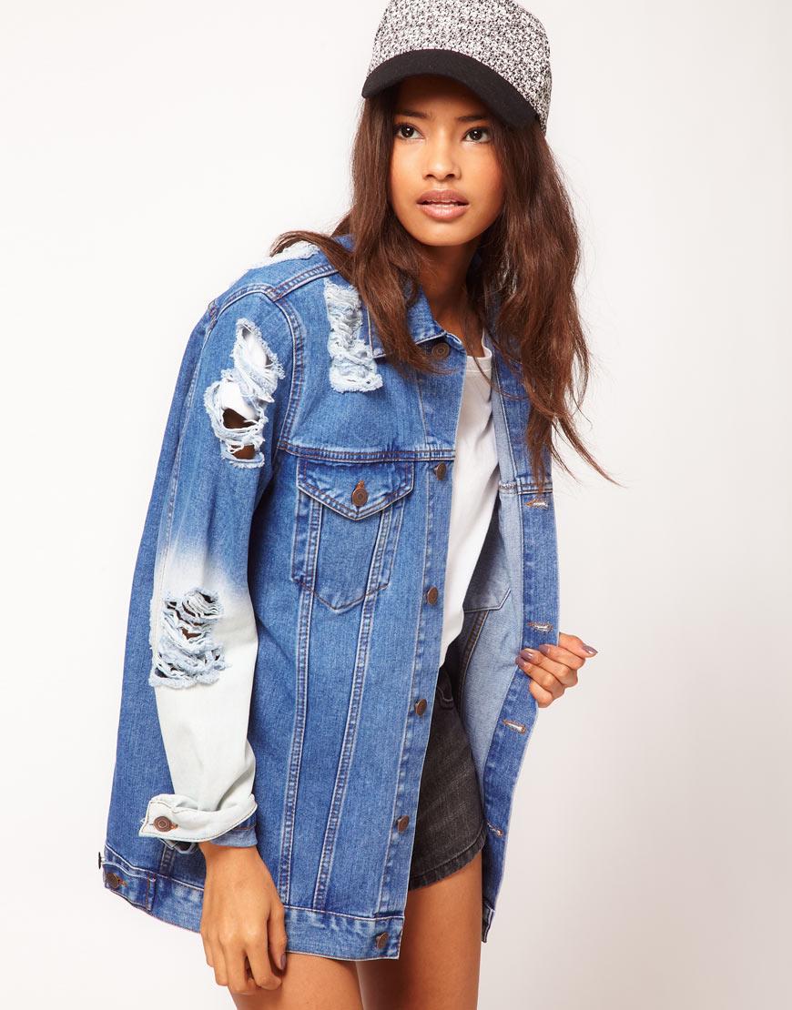 Модная рваная женская джинсовая куртка