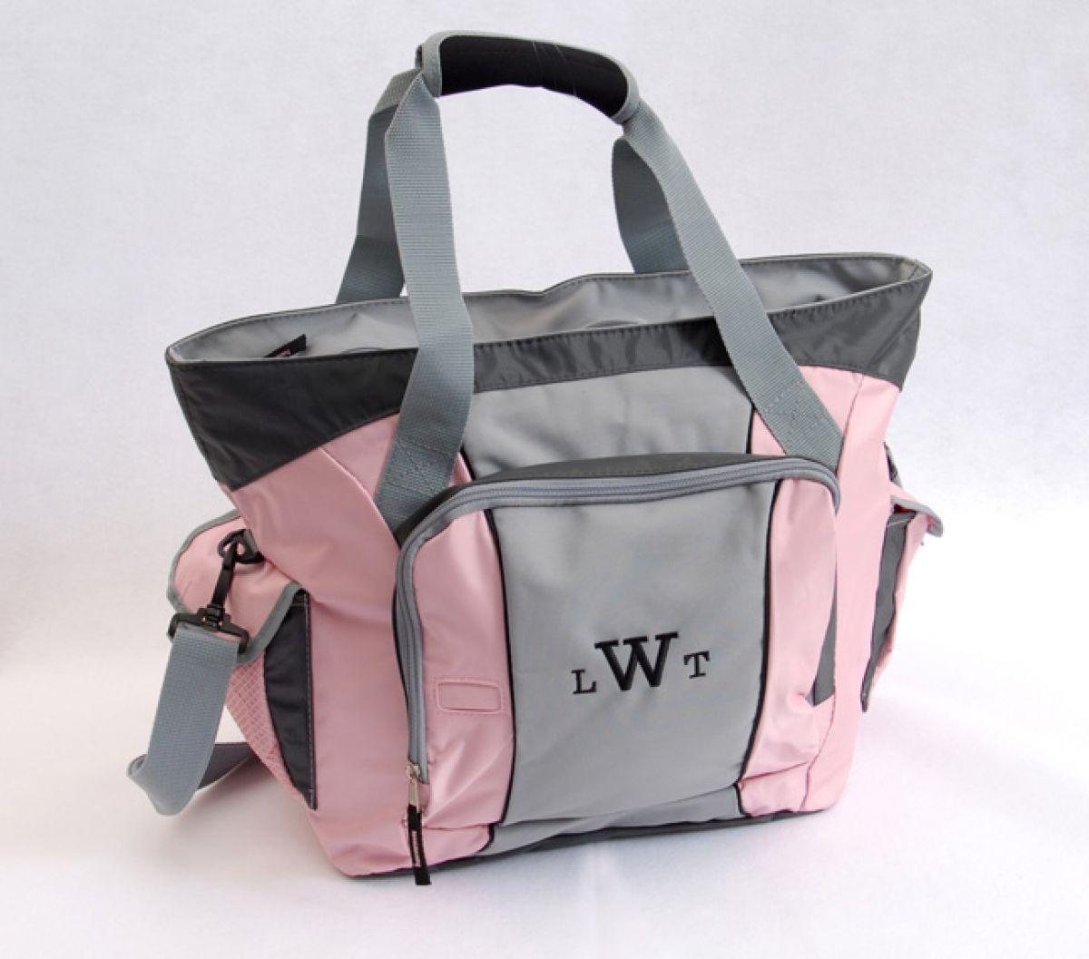 Серо-розовая женская спортивная сумка