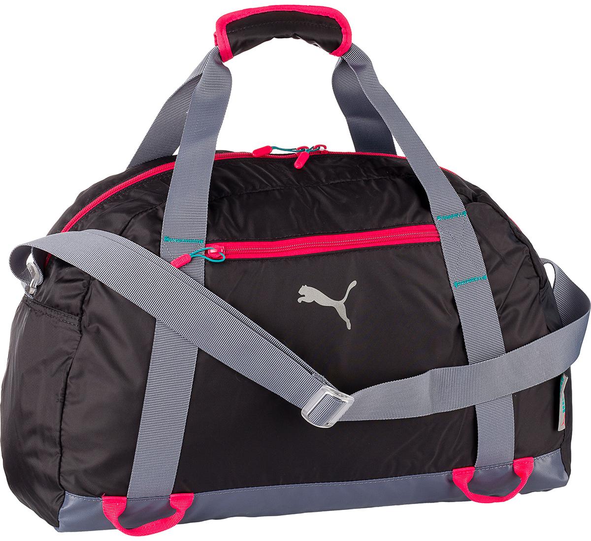 Черная женская сумка для спорта из синтетической ткани