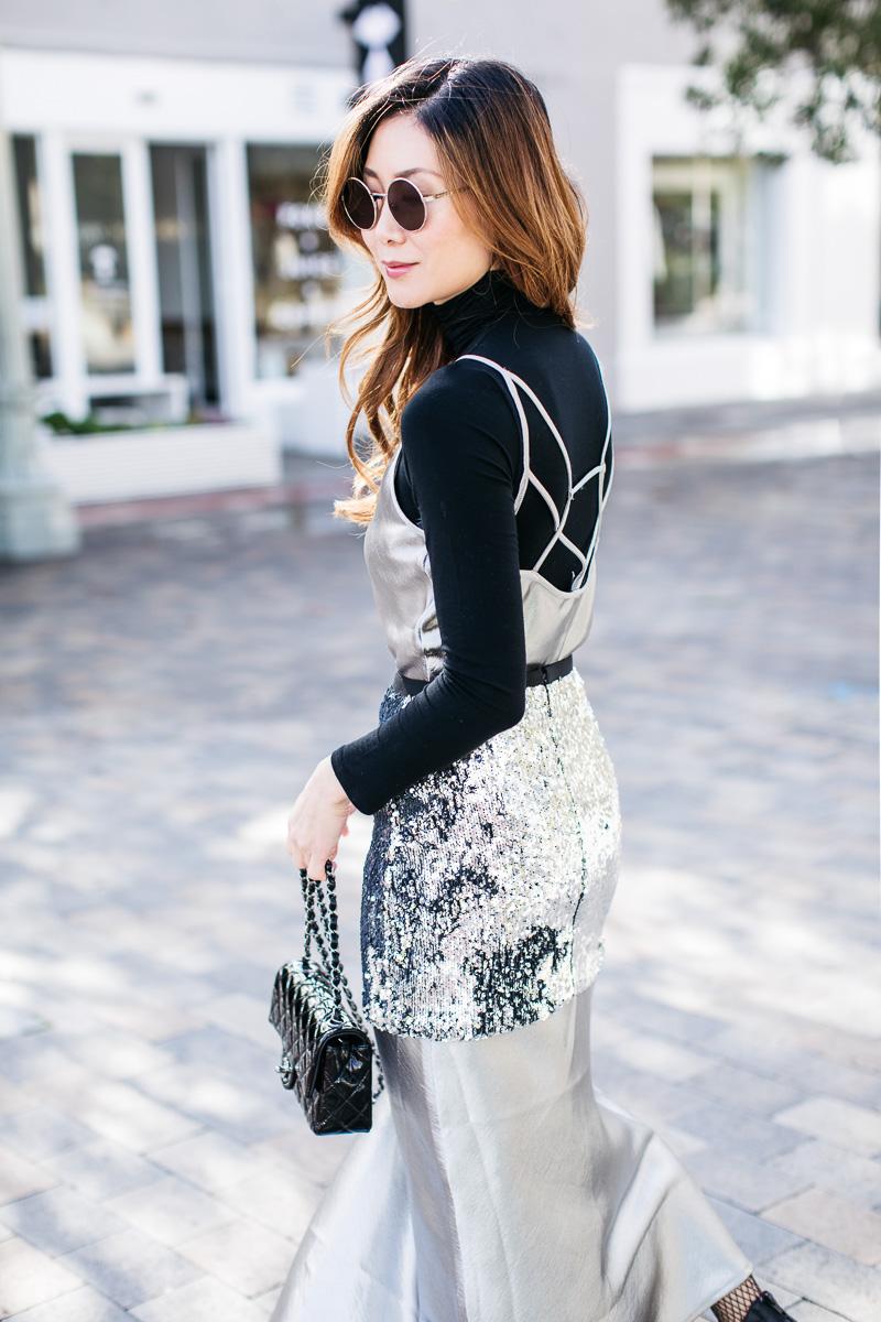 Платье-комбинация с пайетками
