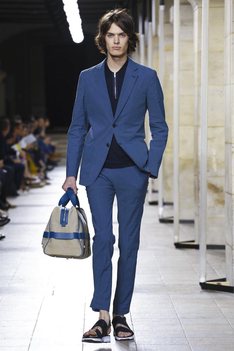 Модная мужская сумка Hermes из синей кожи