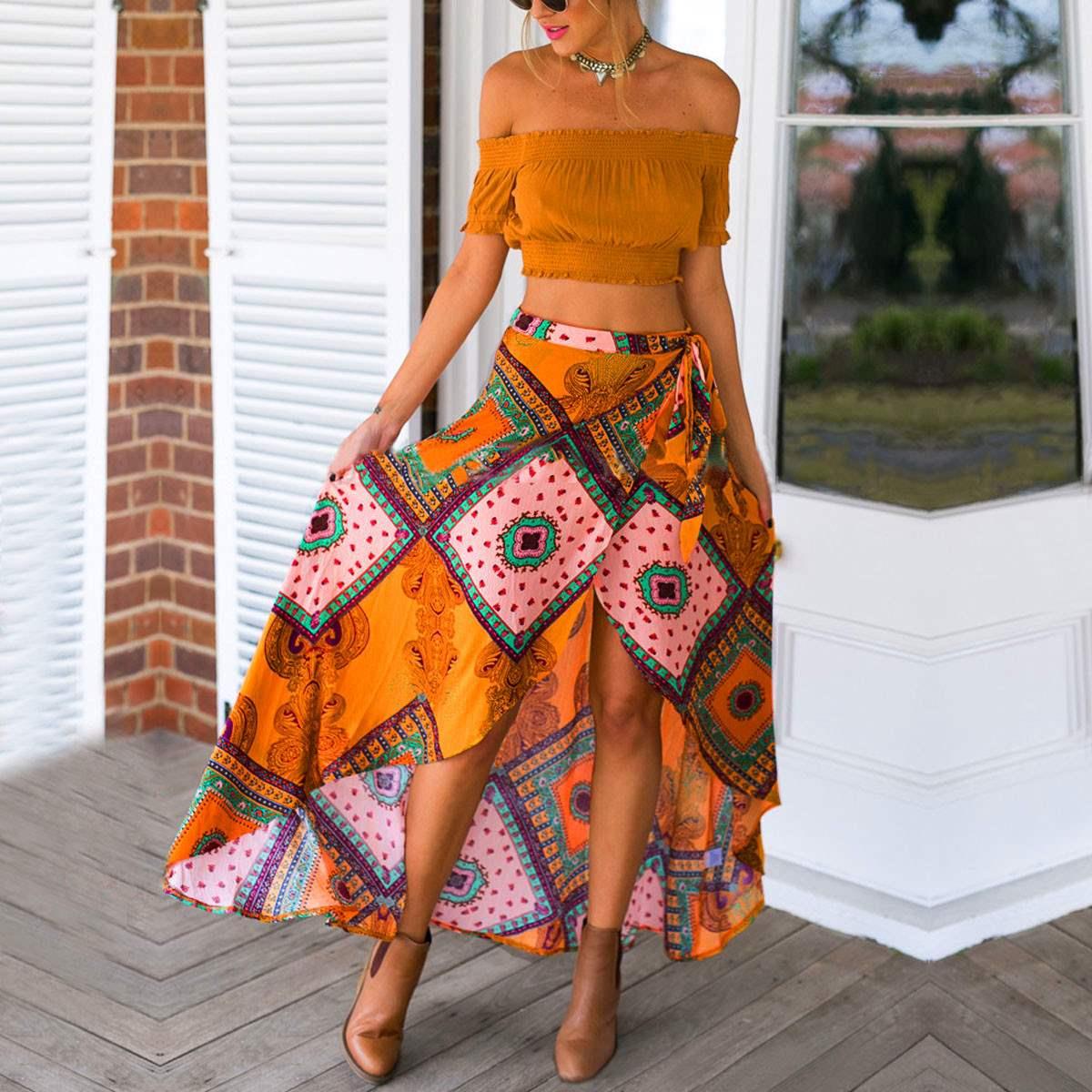 Асимметричная юбка в этническом стиле